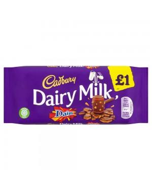 Cadbury Daim Bar 120G Barretta Di Cioccolato Al Latte Con Mandorle Tostate E Caramello Croccante