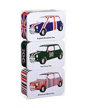 British Heritage Car Set 3X Contenitori In Alluminio Con All'Interno Vari Tea ( Mattina - Pomeriggio - Sera )