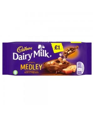 Cadbury Medley Fudge 93G Barretta Di Cioccolato Al Latte Ripiena Di Crema Latte, Biscotti E Caramello