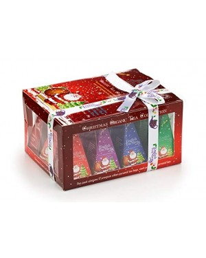 English Tea Shop Organic Red Santa Christmas Prisms Tea Bags (Candy Cane, Silent Night, Irish Holiday, Savoury Blend) 12
